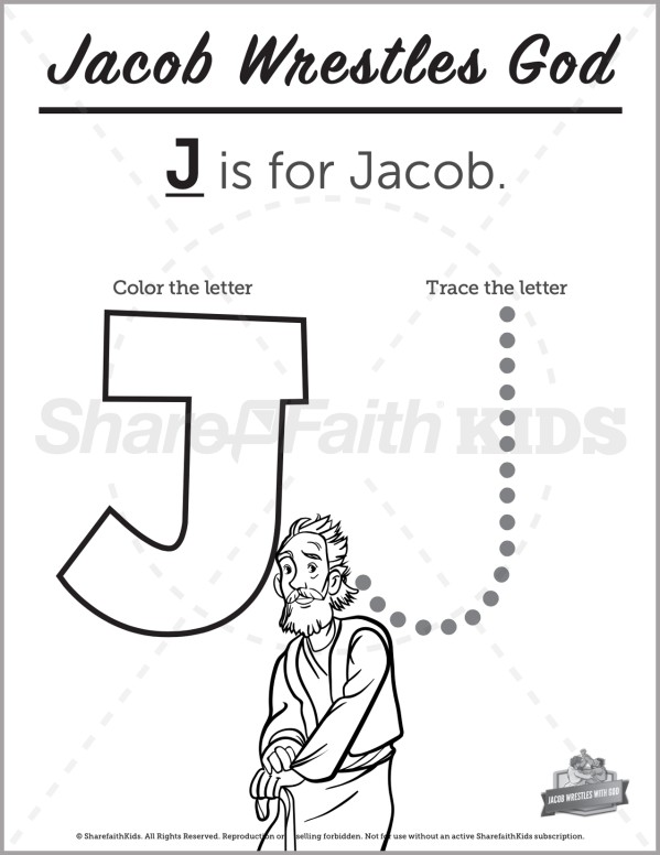 Genesis 32 Jacob Wrestles with God Preschool Letter Coloring