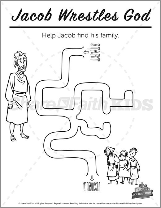 Genesis 32 Jacob Wrestles with God Preschool Mazes