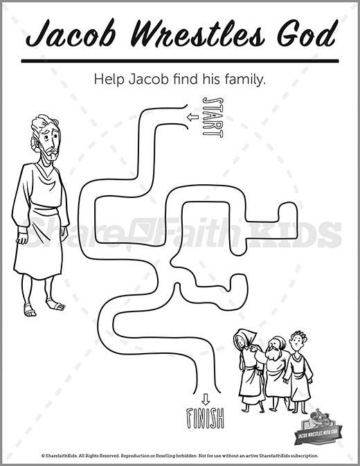 Genesis 32 Jacob Wrestles with God Preschool Mazes