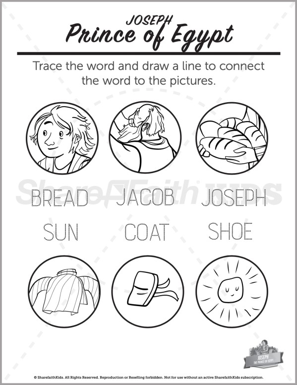 Genesis 50 The Story of Joseph Preschool Word Picture Match