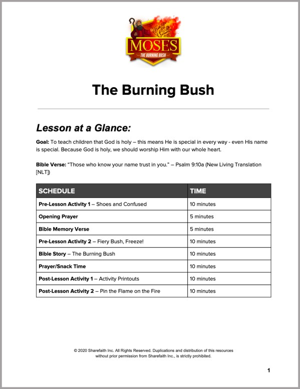 Exodus 3 The Burning Bush Preschool Curriculum