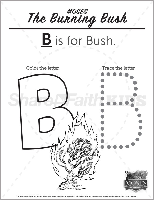 Exodus 3 The Burning Bush Preschool Letter Coloring