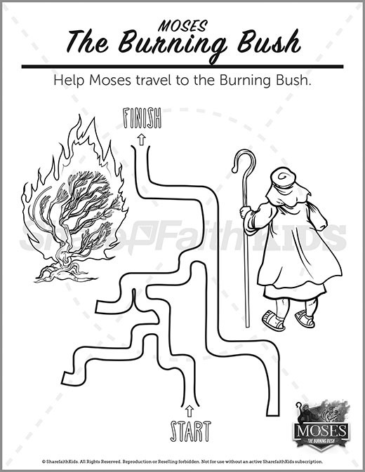 Exodus 3 The Burning Bush Preschool Mazes