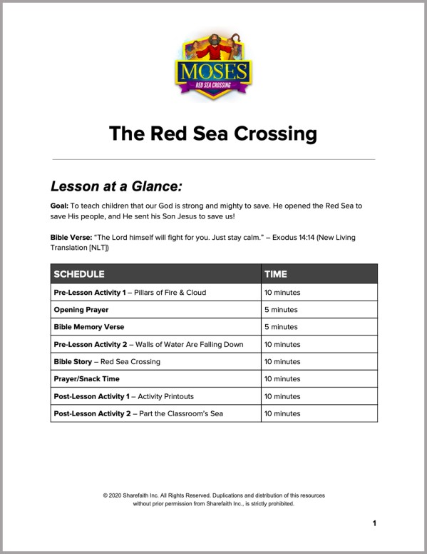 Exodus 12 The Red Sea Crossing Preschool Curriculum