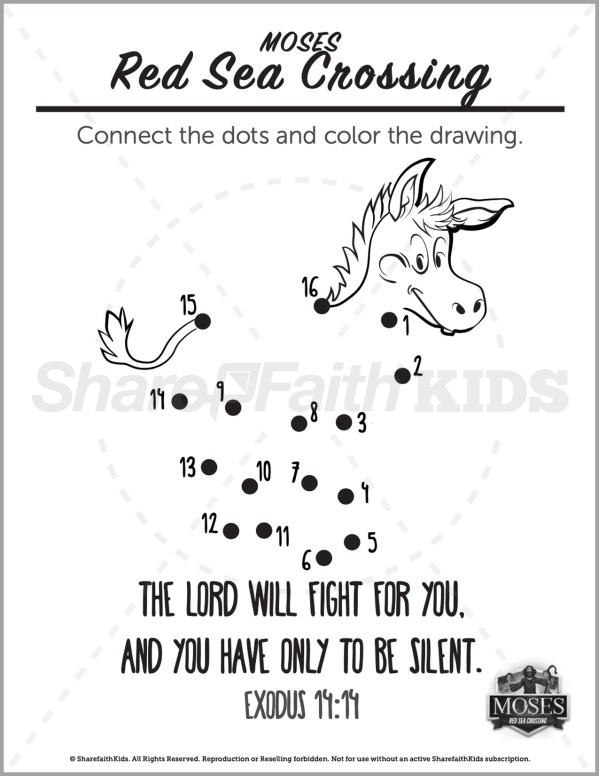 Exodus 12 The Red Sea Crossing Preschool Dot to Dot