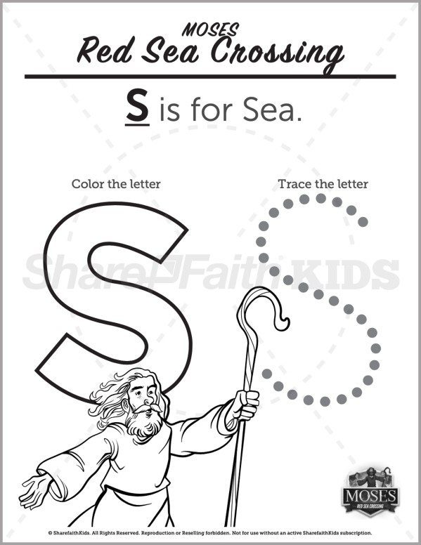 Exodus 12 The Red Sea Crossing Preschool Letter Coloring