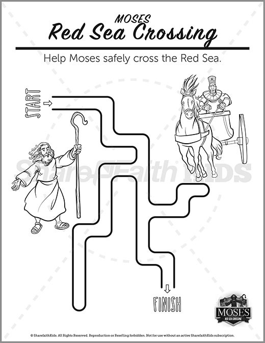 Exodus 12 The Red Sea Crossing Preschool Mazes