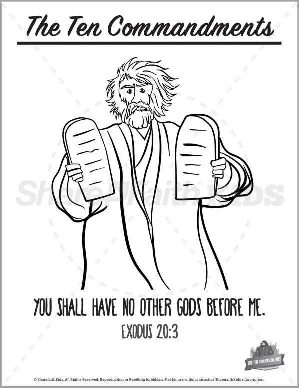 Exodus 20 The Ten Commandments Preschool Coloring Pages