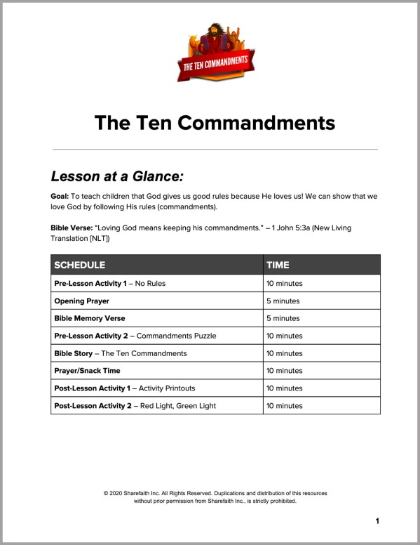 Exodus 20 The Ten Commandments Preschool Curriculum