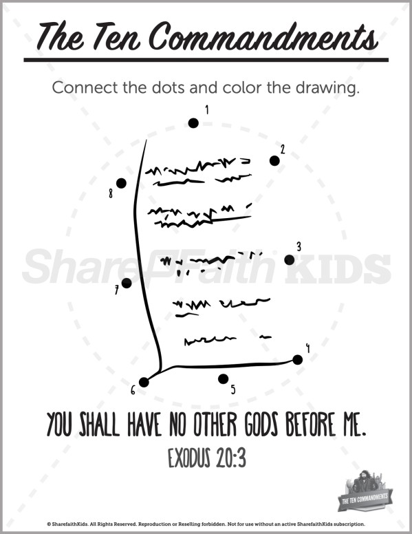 Exodus 20 The Ten Commandments Preschool Dot to Dot