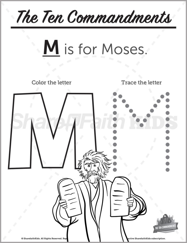 Exodus 20 The Ten Commandments Preschool Letter Coloring