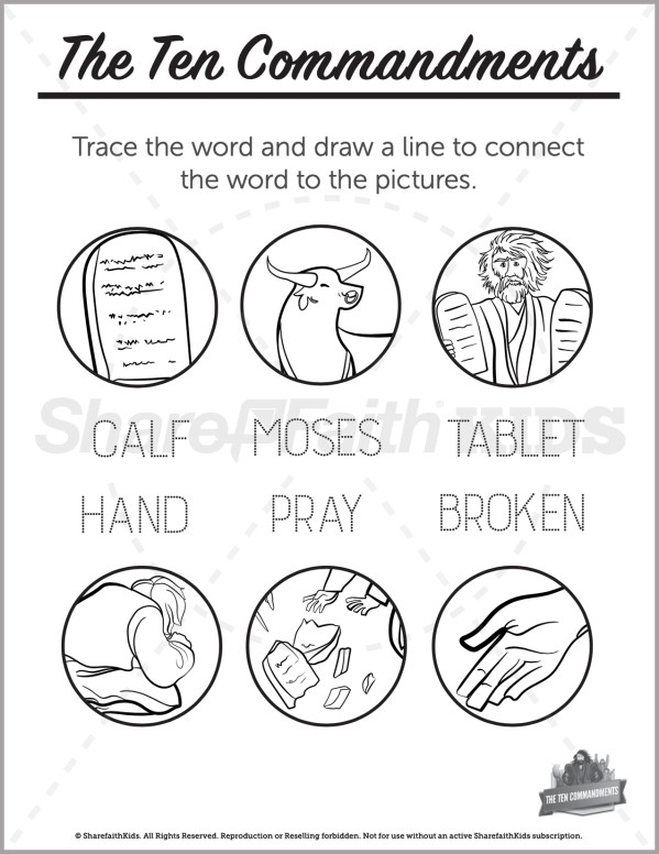 Exodus 20 The Ten Commandments Preschool Word Picture Match