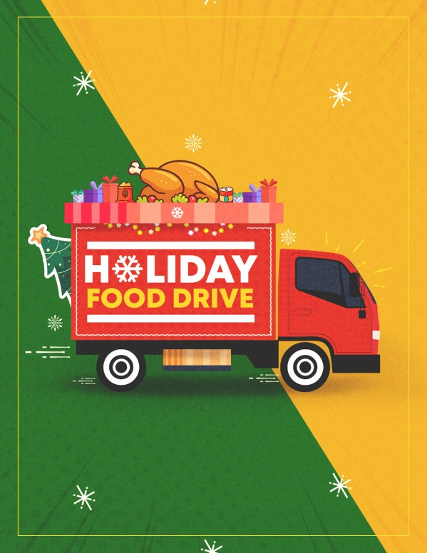 Holiday Food Drive Truck Church Flyer
