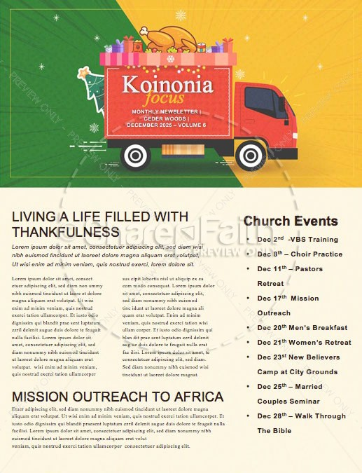 Holiday Food Drive Truck Newsletter