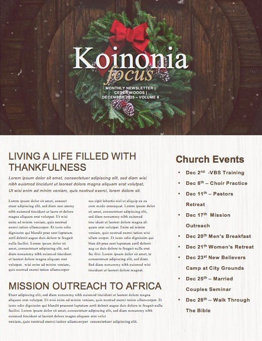 Home For Christmas Church Newsletter