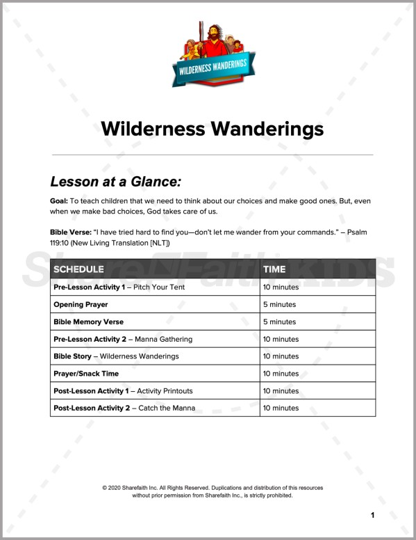 Exodus Wilderness Wanderings Preschool Curriculum