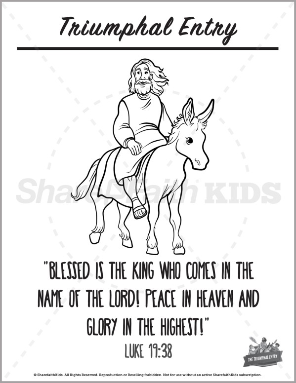 Luke 19 Triumphal Entry Preschool Coloring Pages