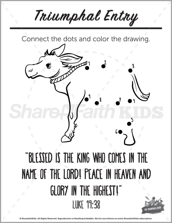 Luke 19 Triumphal Entry Preschool Dot to Dot