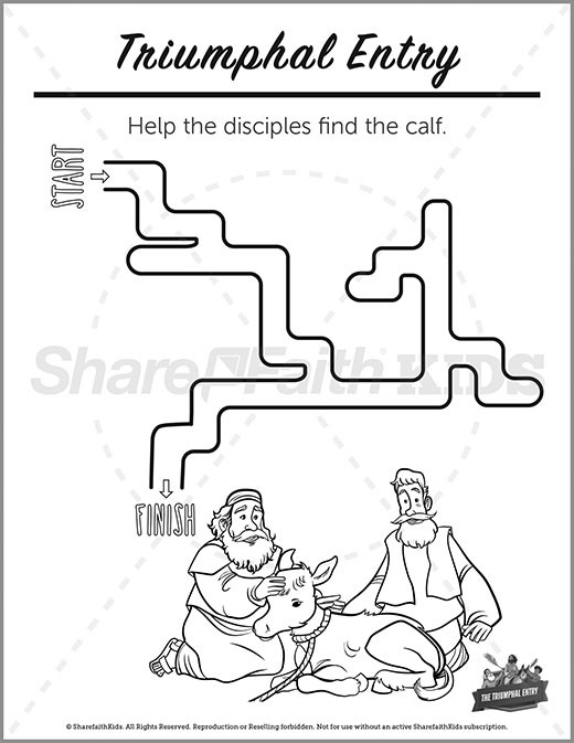 Luke 19 Triumphal Entry Preschool Mazes