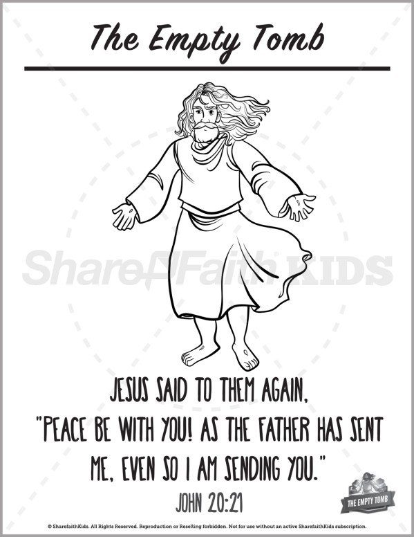 John 20 The Empty Tomb Preschool Coloring Pages