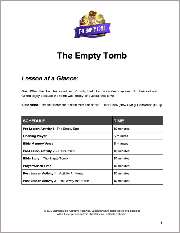 John 20 The Empty Tomb Preschool Curriculum