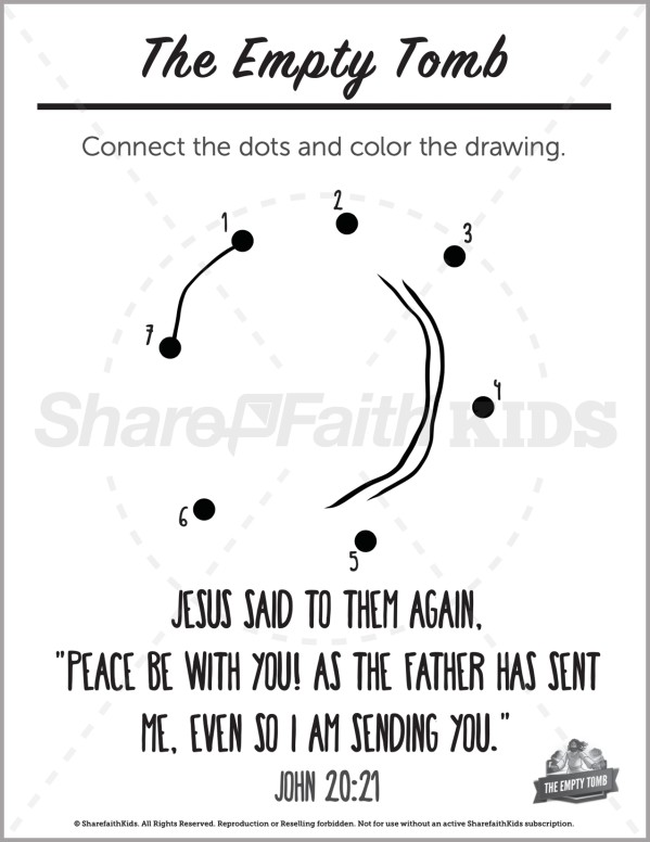John 20 The Empty Tomb Preschool Dot to Dot