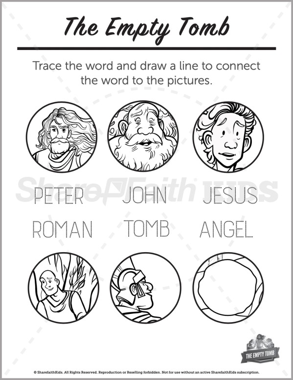John 20 The Empty Tomb Preschool Word Picture Match