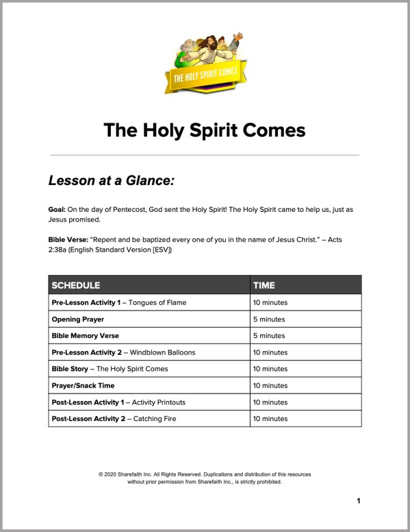 Acts 2 The Holy Spirit Comes Preschool Curriculum