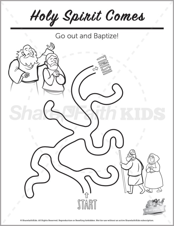 Acts 2 The Holy Spirit Comes Preschool Mazes