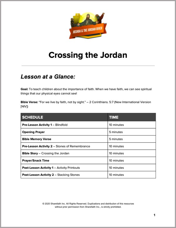 Joshua 3 Crossing the Jordan Preschool Curriculum