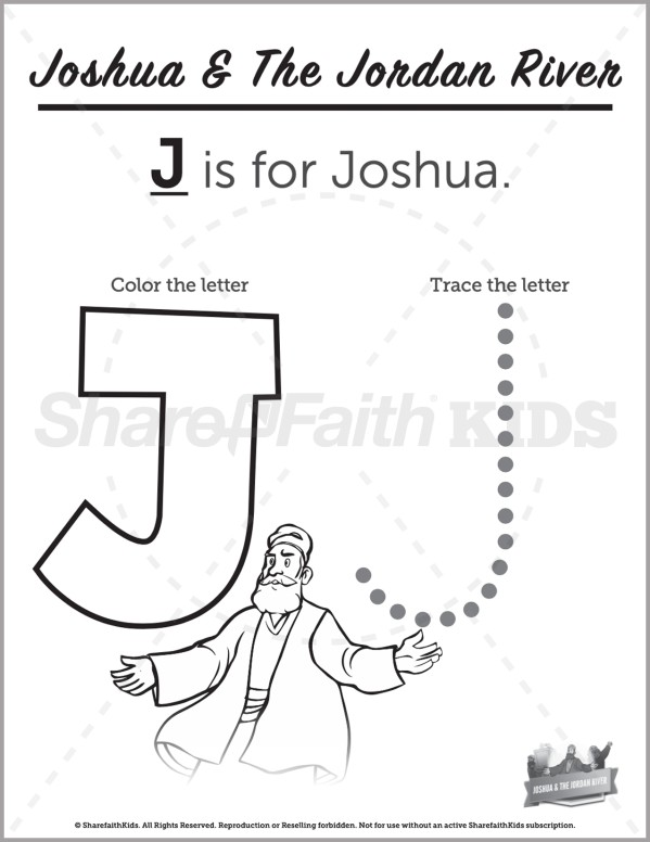 Joshua 3 Crossing the Jordan Preschool Letter Coloring