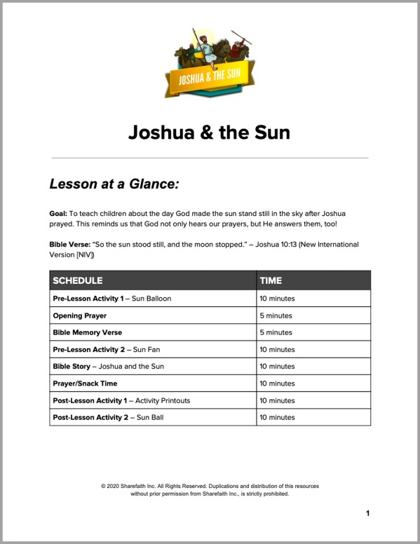 Joshua 10 Joshua and the Sun Preschool Curriculum