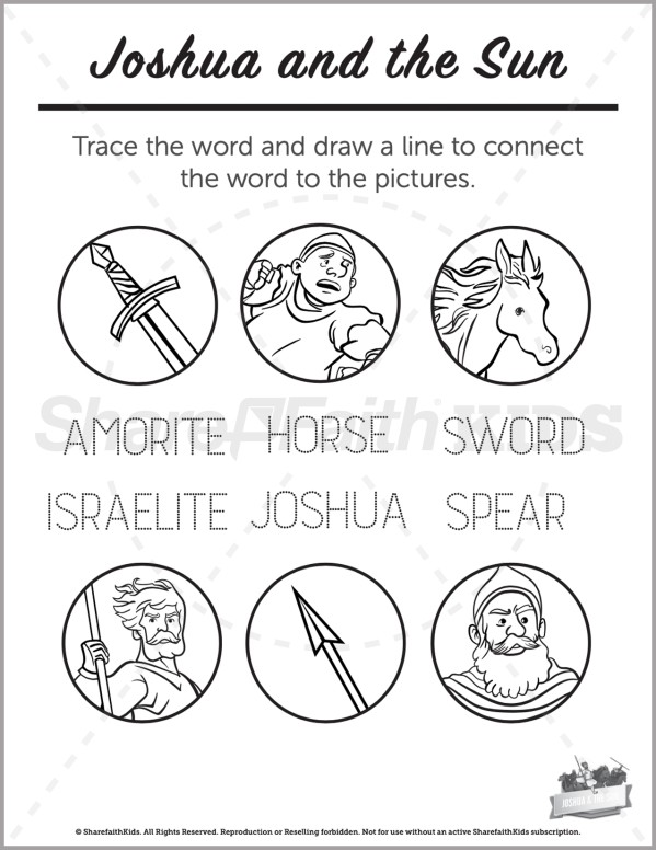 Joshua 10 Joshua and the Sun Preschool Word Picture Match
