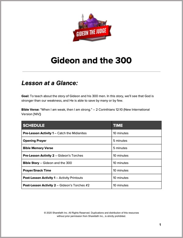 Judges 6 Gideon and the 300 Preschool Curriculum