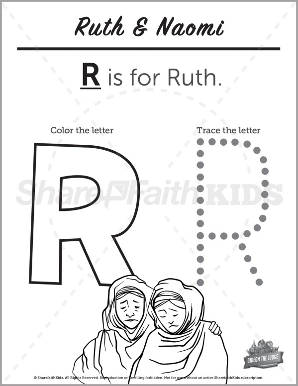 Ruth 1 4 Ruth and Naomi Preschool Letter Coloring