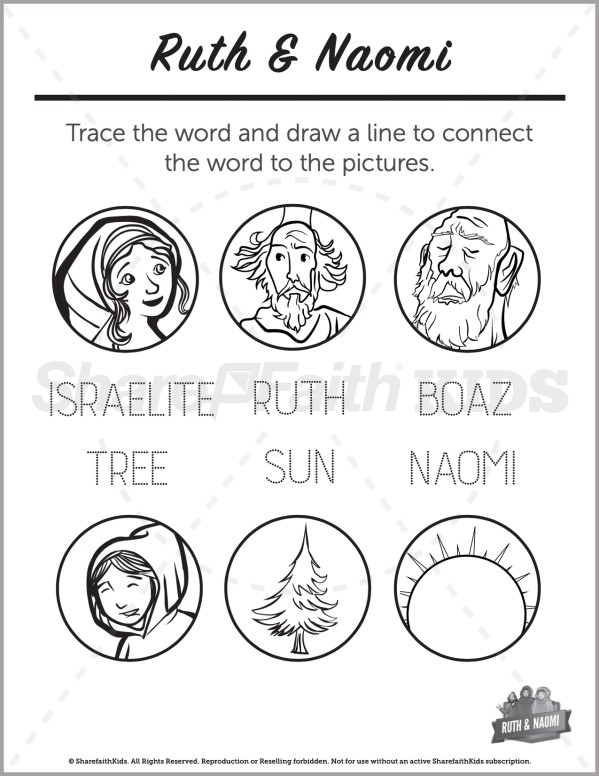 Ruth and Naomi Preschool Word Picture Match