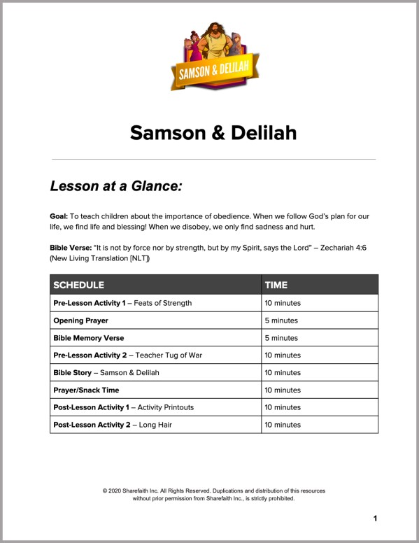 Judges 16 Samson and Delilah Preschool Curriculum