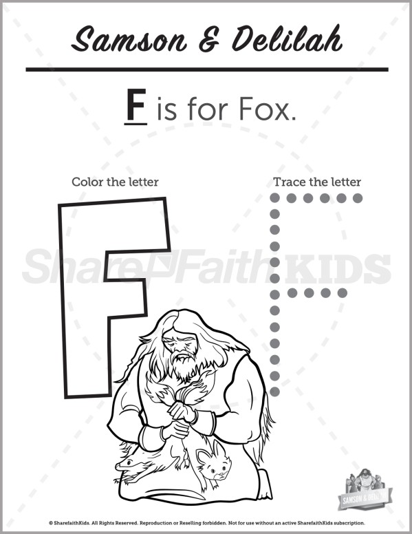 Judges 16 Samson and Delilah Preschool Letter Coloring