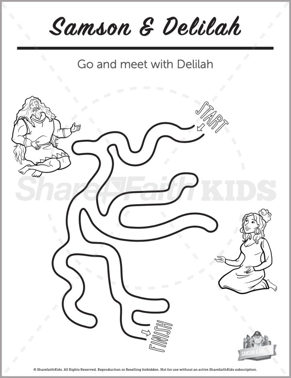 Judges 16 Samson and Delilah Preschool Mazes