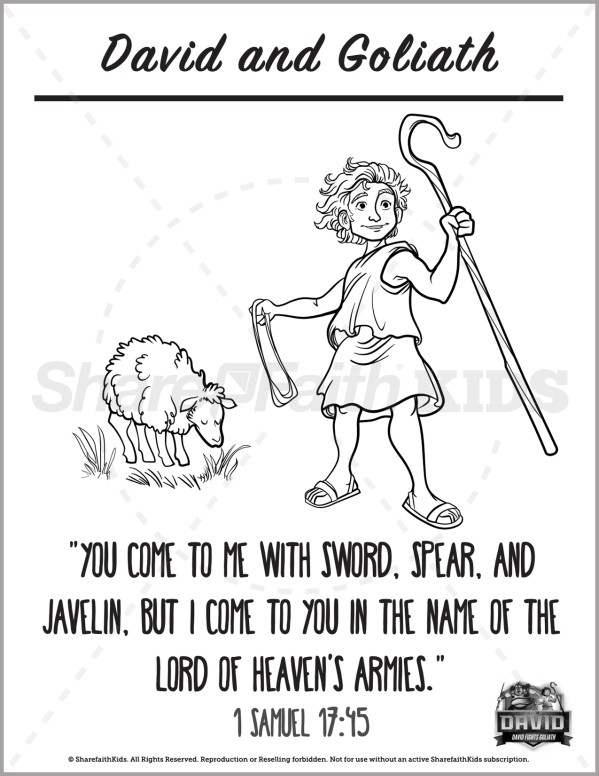 1 Samuel 17 David and Goliath Preschool Coloring Pages