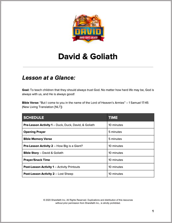 1 Samuel 17 David and Goliath Preschool Curriculum