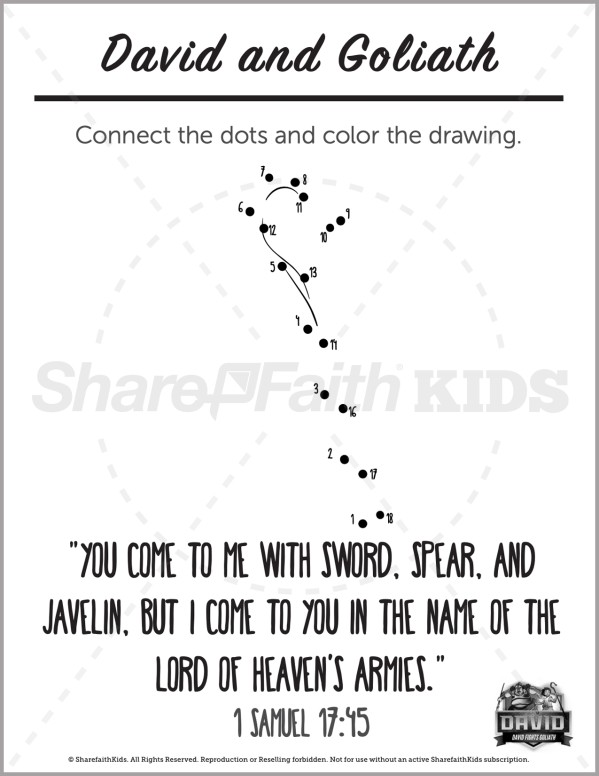 1 Samuel 17 David and Goliath Preschool Dot to Dot