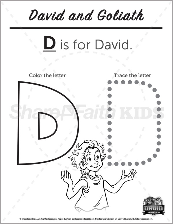 1 Samuel 17 David and Goliath Preschool Letter Coloring