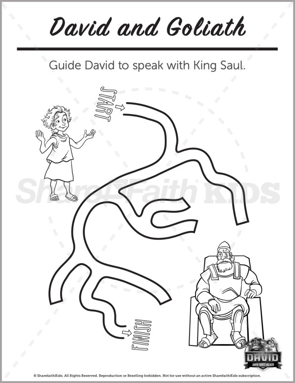 1 Samuel 17 David and Goliath Preschool Mazes