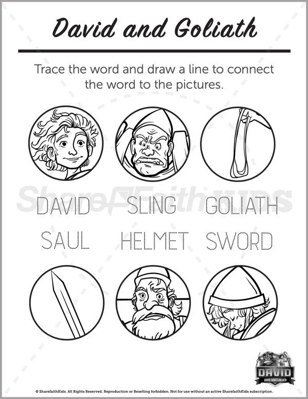 1 Samuel 17 David and Goliath Preschool Word Picture Match