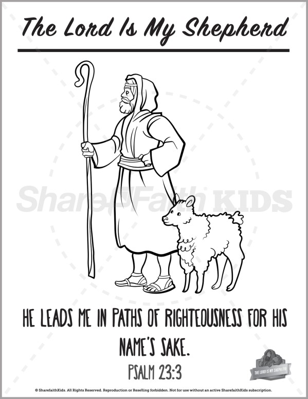 Psalm 23 The Lord is My Shepherd Preschool Coloring Pages