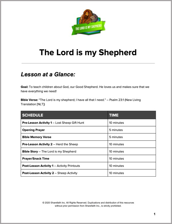 Psalm 23 The Lord is My Shepherd Preschool Curriculum