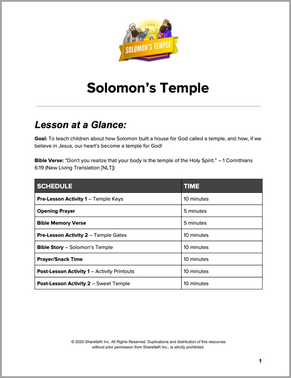 1 Kings 8 Solomons Temple Preschool Curriculum