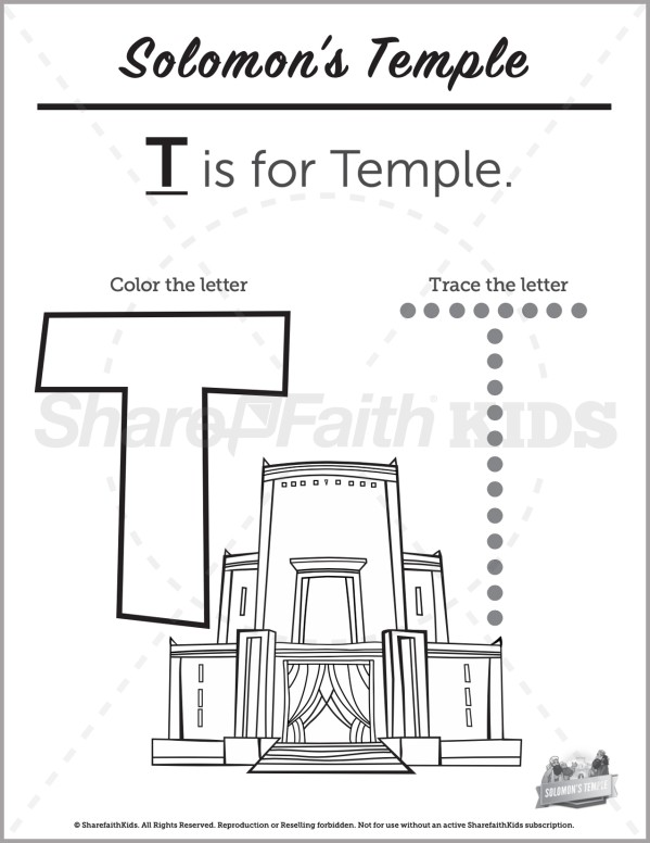 1 Kings 8 Solomons Temple Preschool Letter Coloring