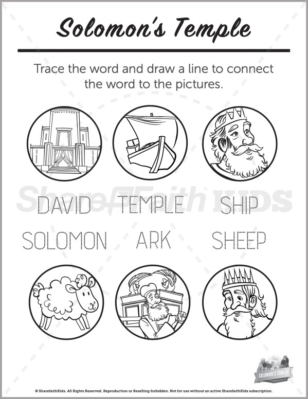 1 Kings 8 Solomons Temple Preschool Word Picture Match